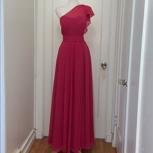 NWT Mori Lee Rose Color One Shoulder Gown